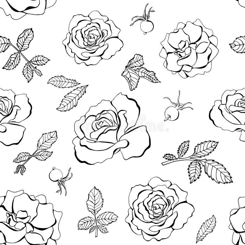 Άνευ ραφής σχέδιο συρμένων των χέρι μαύρων τριαντάφυλλων διανυσματική απεικόνιση
