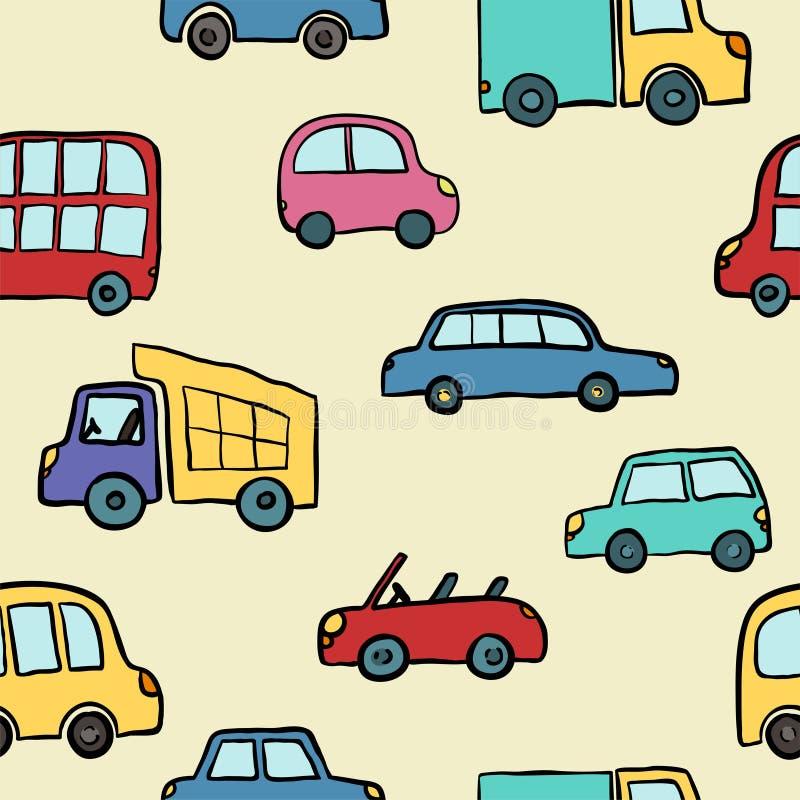 Άνευ ραφής σχέδιο συρμένων των χέρι χαριτωμένων αυτοκινήτων κινούμενων σχεδίων για το σχέδιο παιδιών Διανυσματικό τύλιγμα απεικόν διανυσματική απεικόνιση