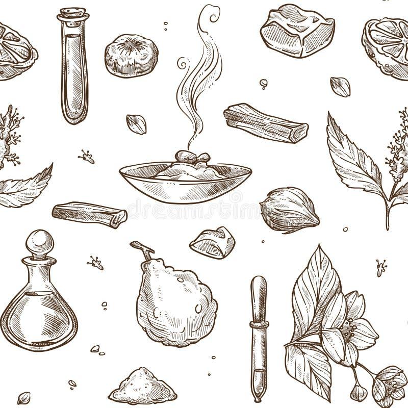Άνευ ραφής σχέδιο συστατικών αρώματος φυσικό Αρωματικό jasmine ελεύθερη απεικόνιση δικαιώματος