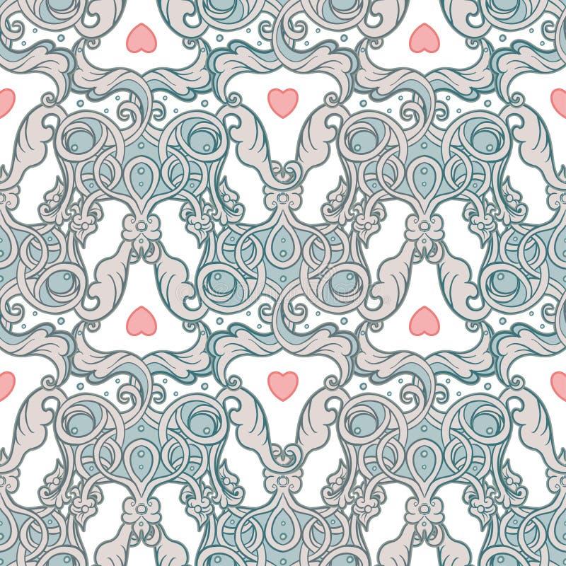 Άνευ ραφής σχέδιο σχεδίων με τις κορώνες και τις καρδιές στο μεσαιωνικό ύφος διανυσματική απεικόνιση