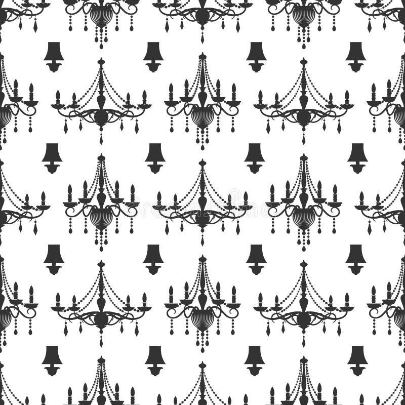 Άνευ ραφής σχέδιο σχεδίων πολυελαίων κρυστάλλου κομψότητας ελεύθερη απεικόνιση δικαιώματος