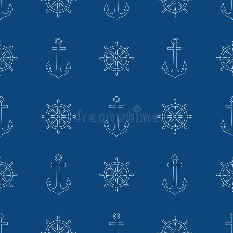 Άνευ ραφής σχέδιο σχεδίων ροδών αγκύρων και σκαφών Διανυσματική ναυτική τυπωμένη ύλη σχεδίων θάλασσας, άσπρες ρόδα σκαφών και άγκ απεικόνιση αποθεμάτων