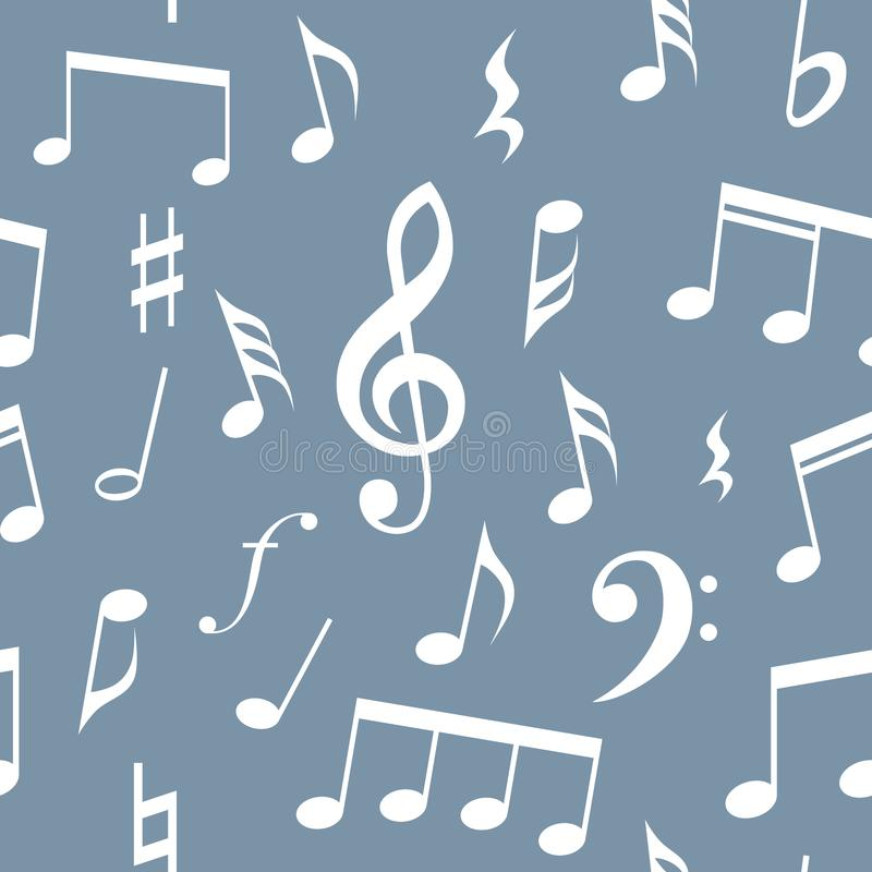 Άνευ ραφής σχέδιο σχεδίων σημειώσεων και συμβόλων μουσικής Πλήρως editable γεμίστε και χρώμα υποβάθρου, μπλε υπόβαθρο και άσπρες  διανυσματική απεικόνιση