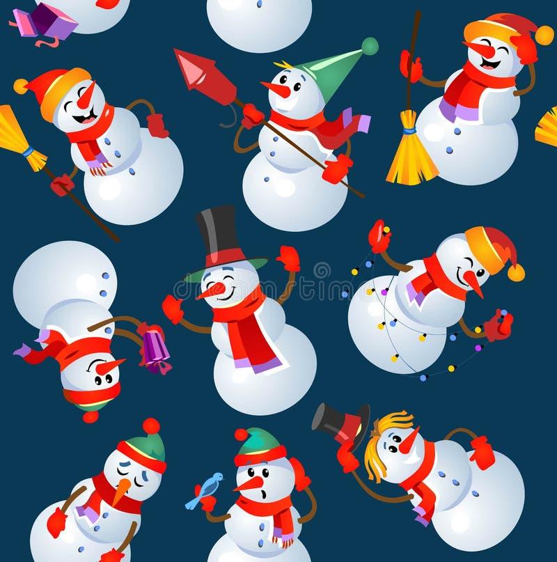 Άνευ ραφής σχέδιο σχεδίων Χριστουγέννων με τα snowmans Διανυσματικό illustra διανυσματική απεικόνιση
