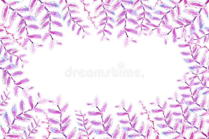 Άνευ ραφής σχέδιο, σύνορα των λεπτών μικρών ρόδινων και πράσινων λουλουδιών και των κλαδίσκων Σχέδιο Watercolor για το σχέδιο της ελεύθερη απεικόνιση δικαιώματος