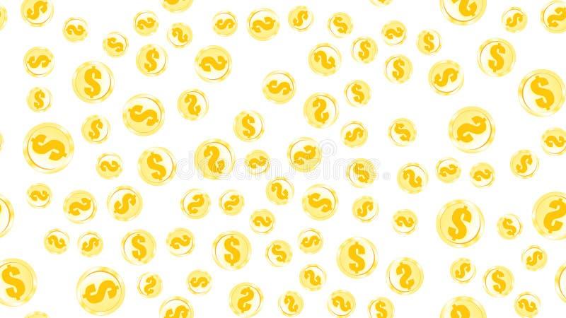 Άνευ ραφής σχέδιο σύστασης των χρυσών πορτοκαλιών κίτρινων χρημάτων νομισμάτων σιδήρου μετάλλων γύρω από τα αφηρημένα δολάρια εθν ελεύθερη απεικόνιση δικαιώματος