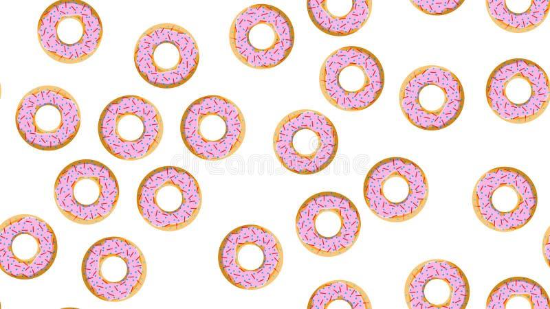 Άνευ ραφής σχέδιο, σύσταση από τα στρογγυλά γλυκά νόστιμα donuts αλευριού στην τροφή των καυτών φρέσκων donuts, ζύμες, ζαχαρωμένα απεικόνιση αποθεμάτων