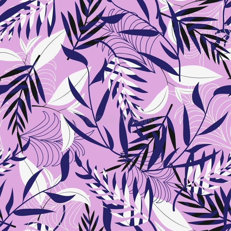 Άνευ ραφής σχέδιο τάσης με τα φωτεινά τροπικά φύλλα και τα φυτά σε ένα ανοικτό ροζ υπόβαθρο o Τυπωμένη ύλη Jung Floral backgr διανυσματική απεικόνιση
