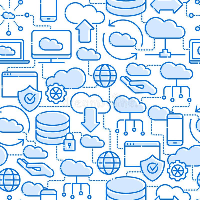 Άνευ ραφής σχέδιο τεχνολογίας υπολογισμού σύννεφων απεικόνιση αποθεμάτων