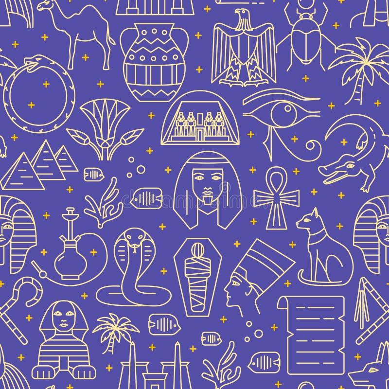Άνευ ραφής σχέδιο της Αιγύπτου στο λεπτό ύφος γραμμών απεικόνιση αποθεμάτων