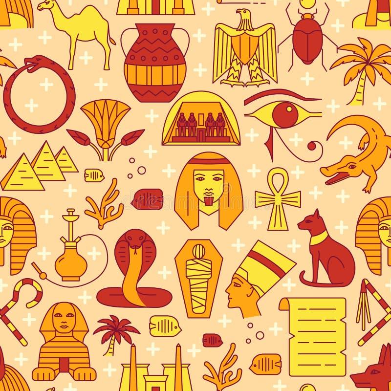 Άνευ ραφής σχέδιο της Αιγύπτου στο ύφος χρωματισμένων γραμμών ελεύθερη απεικόνιση δικαιώματος