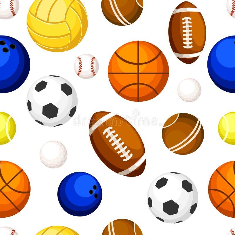 Άνευ ραφής σχέδιο της απεικόνισης μπόουλινγκ ποδοσφαίρου ράγκμπι πετοσφαίρισης αντισφαίρισης καλαθοσφαίρισης μπέιζ-μπώλ αθλητικών ελεύθερη απεικόνιση δικαιώματος