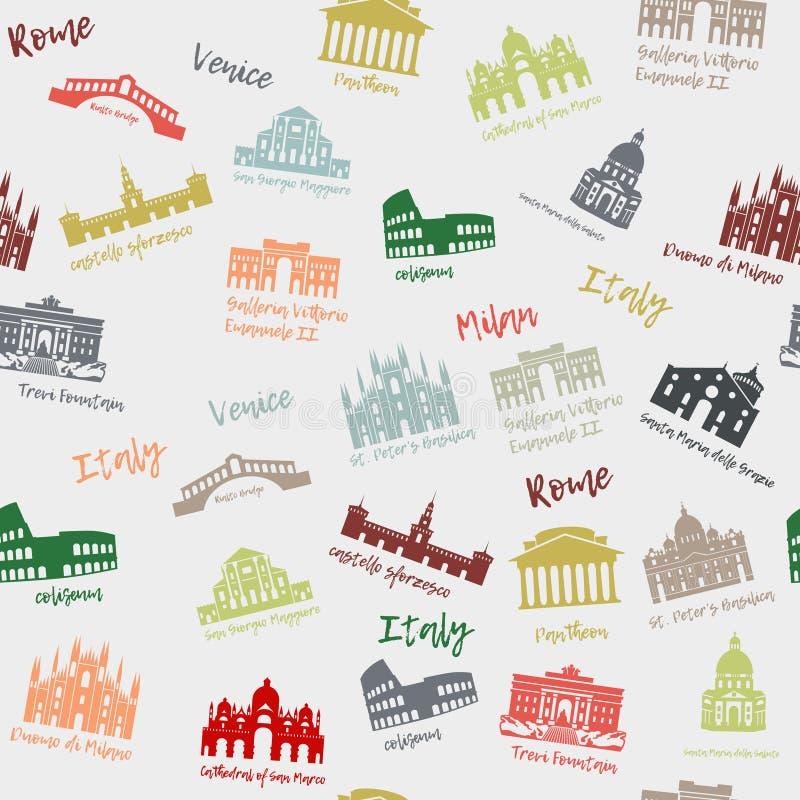 Άνευ ραφής σχέδιο της Ιταλίας Κτήριο, ορόσημα των sities Εικονίδια ταξιδιού σκιαγραφιών διανυσματική απεικόνιση