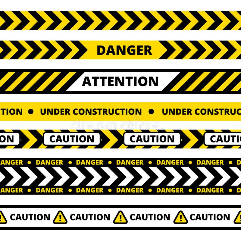 Άνευ ραφής σχέδιο της κίτρινης ταινίας κινδύνου απεικόνιση αποθεμάτων