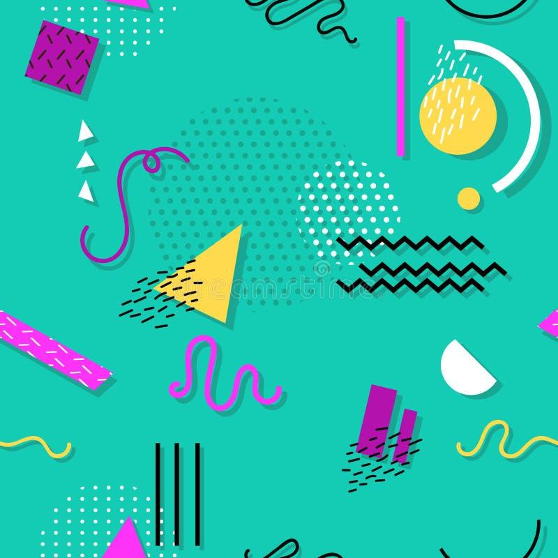 Άνευ ραφής σχέδιο της Μέμφιδας των γεωμετρικών μορφών για τον ιστό και τις κάρτες απεικόνιση αποθεμάτων