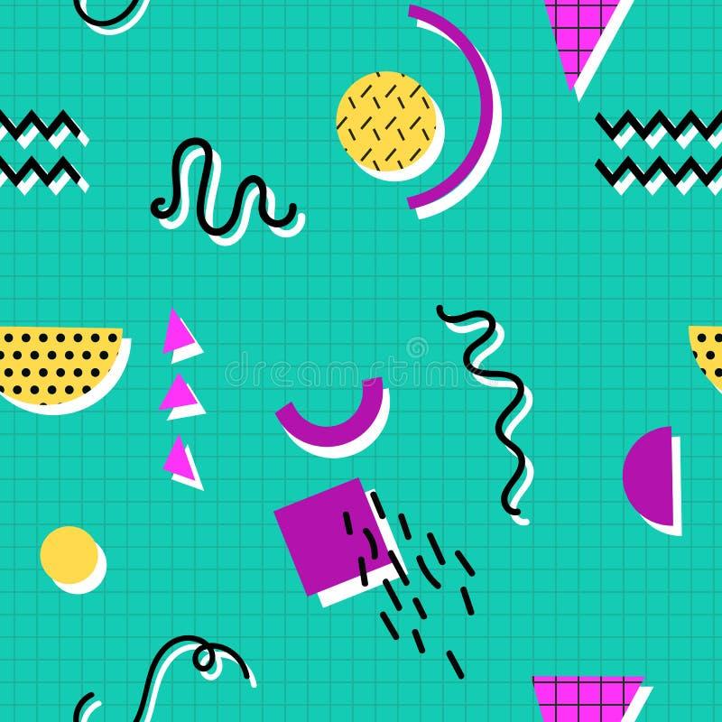 Άνευ ραφής σχέδιο της Μέμφιδας των γεωμετρικών μορφών για τον ιστό και τις κάρτες διανυσματική απεικόνιση