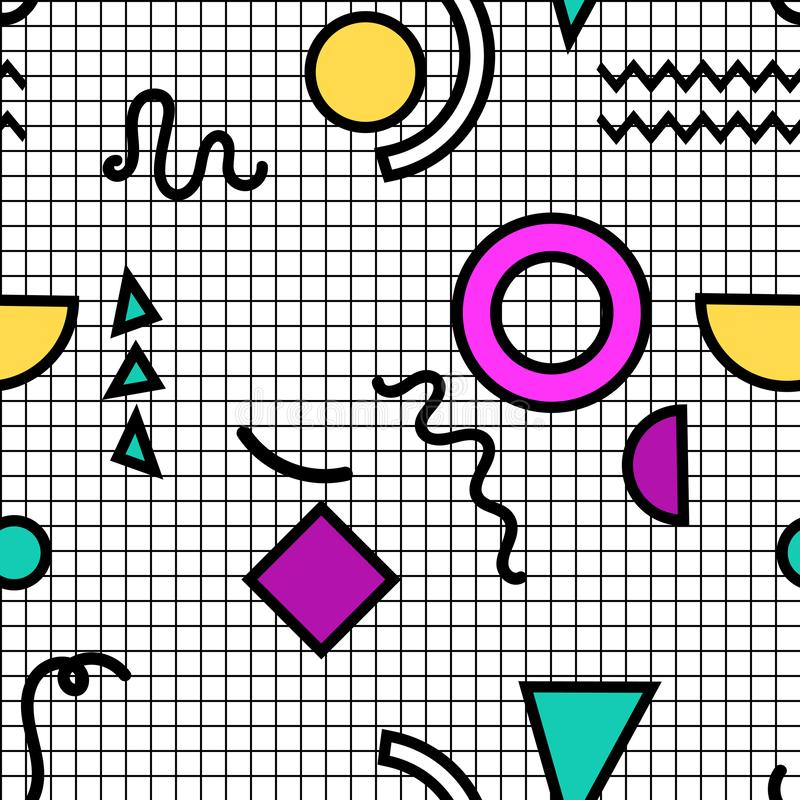 Άνευ ραφής σχέδιο της Μέμφιδας των γεωμετρικών μορφών για τον ιστό και τις κάρτες ελεύθερη απεικόνιση δικαιώματος