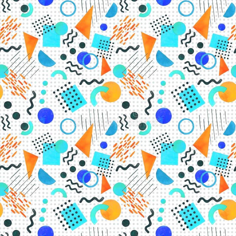 Άνευ ραφής σχέδιο της Μέμφιδας των γεωμετρικών μορφών 80 μορφές ` s-90 ` s επάνω ελεύθερη απεικόνιση δικαιώματος
