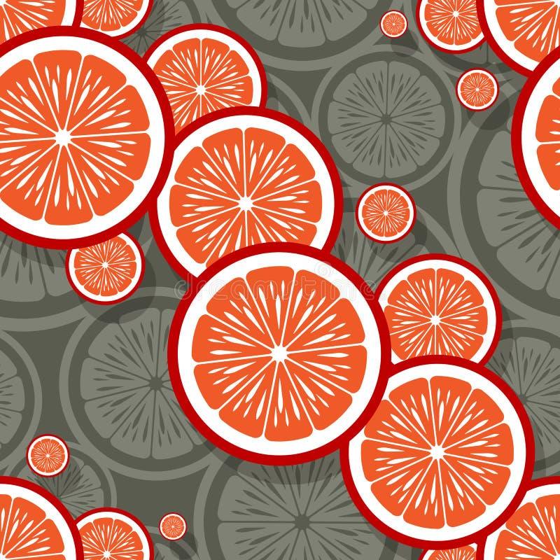 Άνευ ραφής σχέδιο της πορτοκαλιάς γραφικής παράστασης φετών φρούτων στοκ εικόνα