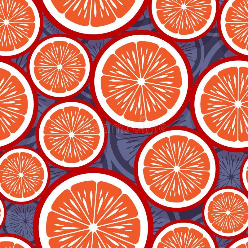 Άνευ ραφής σχέδιο της πορτοκαλιάς γραφικής παράστασης φετών φρούτων στοκ εικόνες