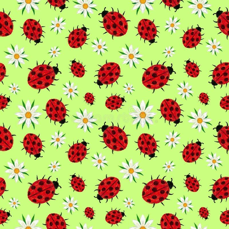 Άνευ ραφής σχέδιο της σαλάτας ladybugs και μαργαριτών ελεύθερη απεικόνιση δικαιώματος