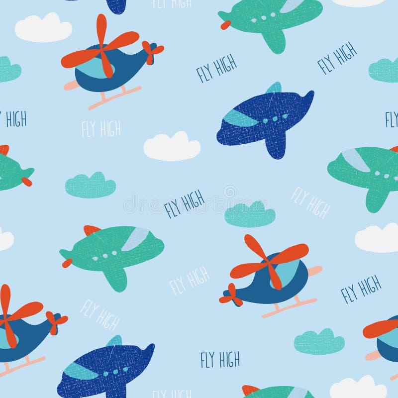 Άνευ ραφής σχέδιο της χαριτωμένης μύγας ελικοπτέρων, αεροπλάνων, σύννεφων και κειμένων υψηλής διανυσματική απεικόνιση