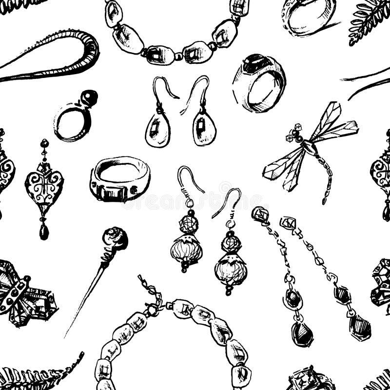 Άνευ ραφής σχέδιο του διάφορου θηλυκού κοσμήματος απεικόνιση αποθεμάτων