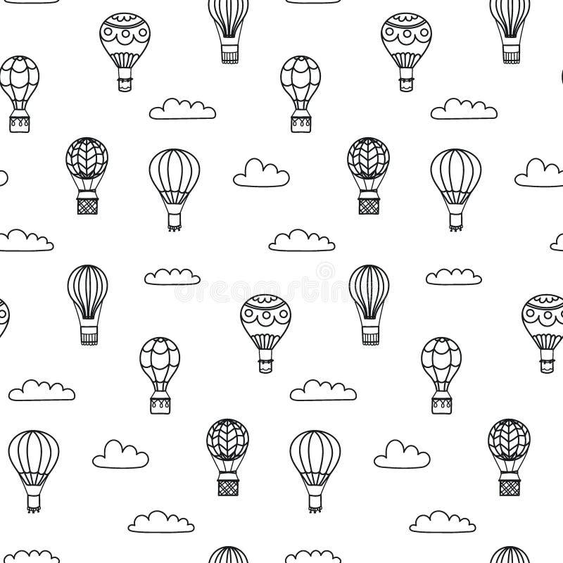Άνευ ραφής σχέδιο του διανυσματικού μπαλονιού ζεστού αέρα περιλήψεων διανυσματική απεικόνιση