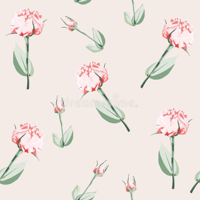 Άνευ ραφής σχέδιο του διανυσματικών eustoma και των τριαντάφυλλων ύφους watercolor ρόδινων Απεικόνιση των λουλουδιών ελεύθερη απεικόνιση δικαιώματος