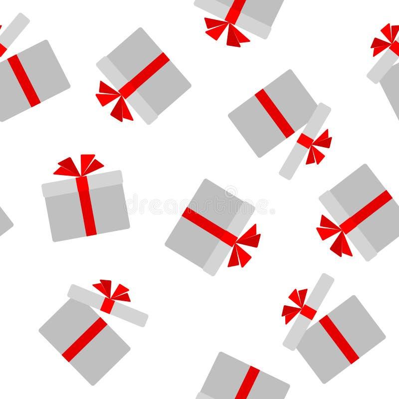 Άνευ ραφής σχέδιο του επίπεδου κιβωτίου δώρων με το κόκκινο υπόβαθρο τόξων κορδελλών με ένα σχέδιο του ανοικτού και κλειστού στοι διανυσματική απεικόνιση