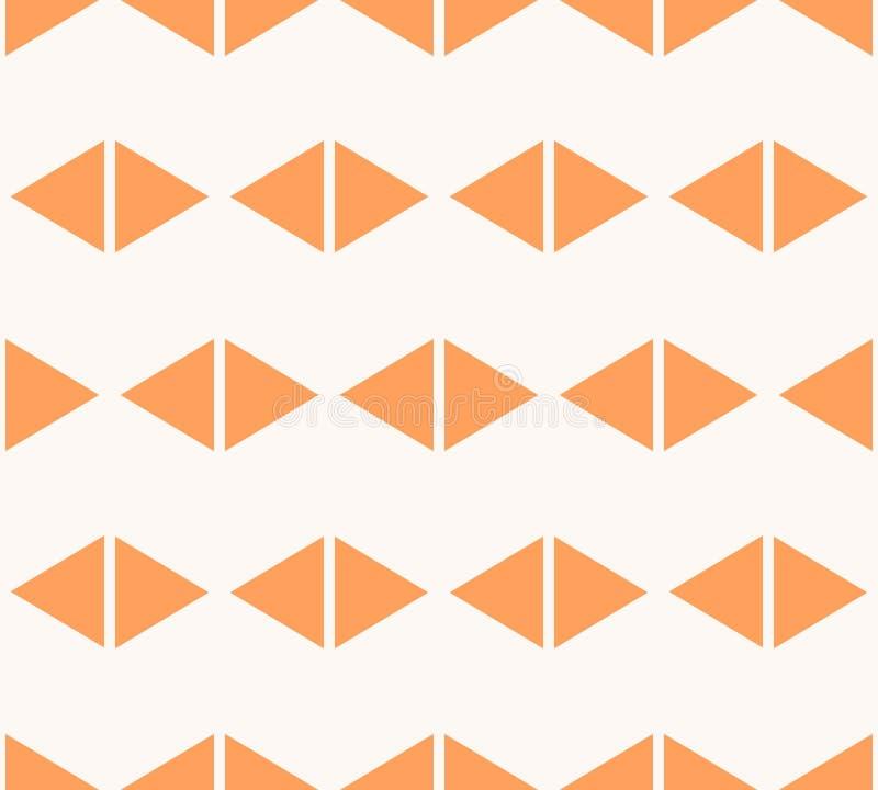 Άνευ ραφής σχέδιο τριγώνων Ελάχιστη πορτοκαλιά και άσπρη διανυσματική γεωμετρική σύσταση διανυσματική απεικόνιση