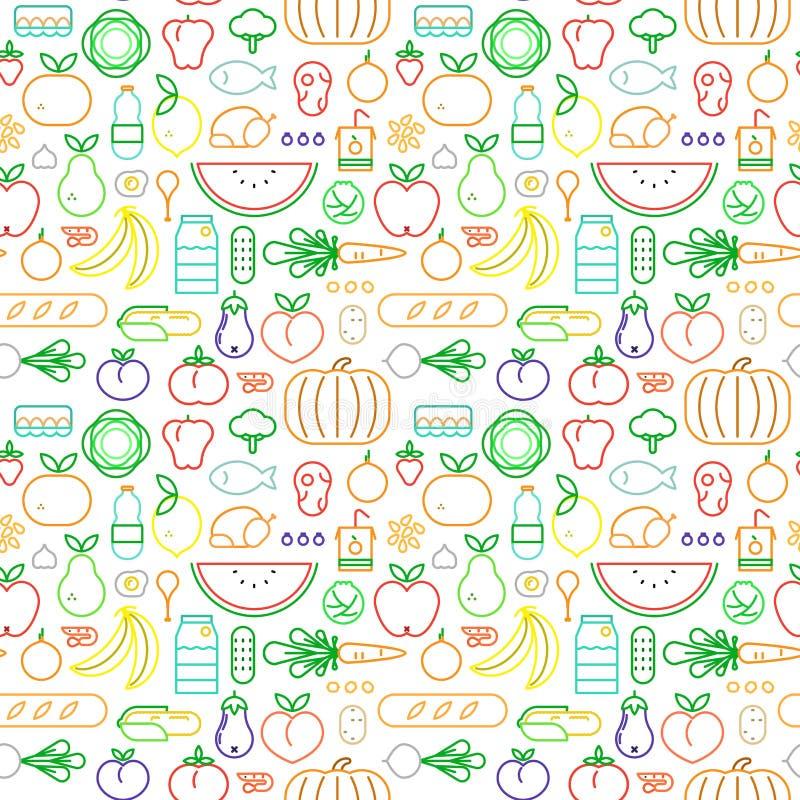 Άνευ ραφής σχέδιο τροφίμων των σύγχρονων εικονιδίων περιλήψεων διανυσματική απεικόνιση