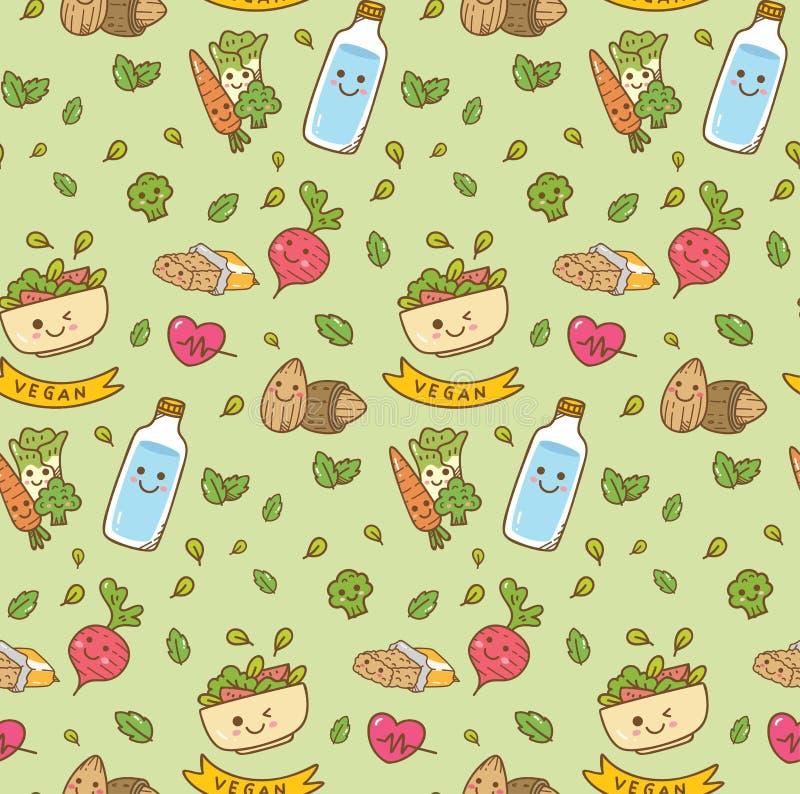 Άνευ ραφής σχέδιο τροφίμων Kawaii χορτοφάγο διανυσματική απεικόνιση