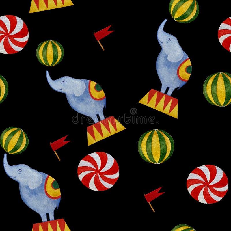 Άνευ ραφής σχέδιο τσίρκων watercolor: ελέφαντας, σημαίες, σφαίρες διανυσματική απεικόνιση
