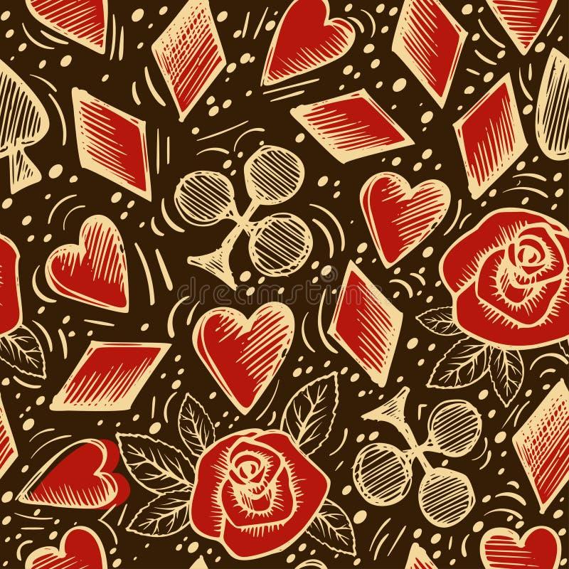 Άνευ ραφής σχέδιο τσιπ και καρτών παιχνιδιού στο σκοτεινό υπόβαθρο Διάνυσμα υποβάθρου Doodle Αντικείμενα σκίτσων διανυσματική απεικόνιση
