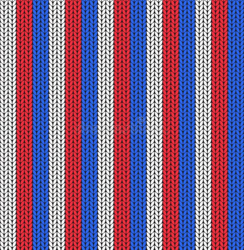Άνευ ραφής σχέδιο των άσπρων, μπλε και κόκκινων λωρίδων διανυσματική απεικόνιση
