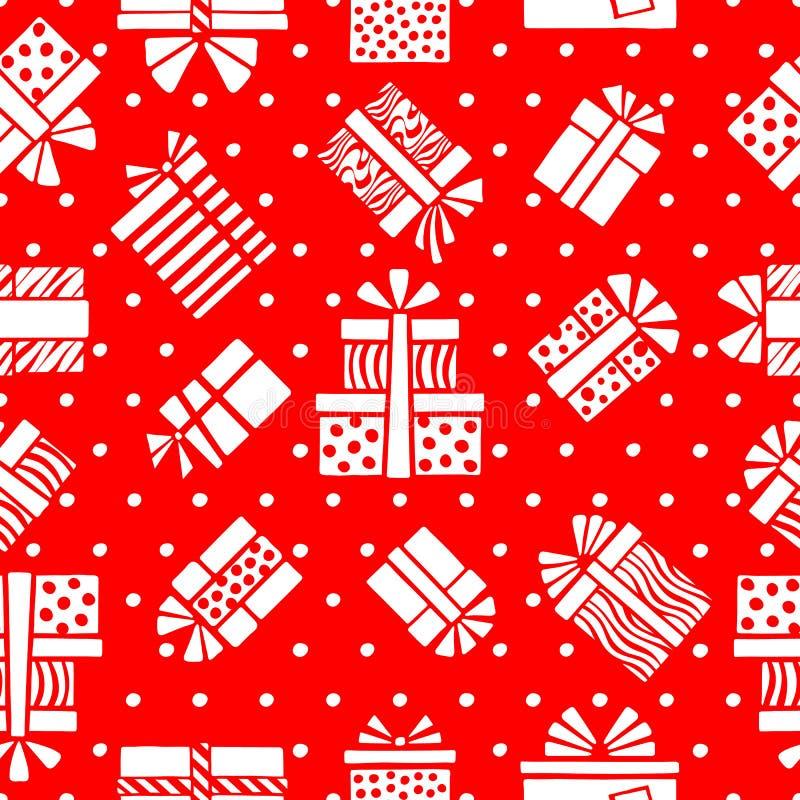 Άνευ ραφής σχέδιο των άσπρων τυποποιημένων κιβωτίων και των σημείων δώρων σε ένα κόκκινο διανυσματική απεικόνιση