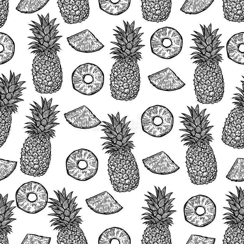 Άνευ ραφής σχέδιο των ανανάδων και κομμάτια των ανανάδων στο μαύρο υπόβαθρο διανυσματική απεικόνιση