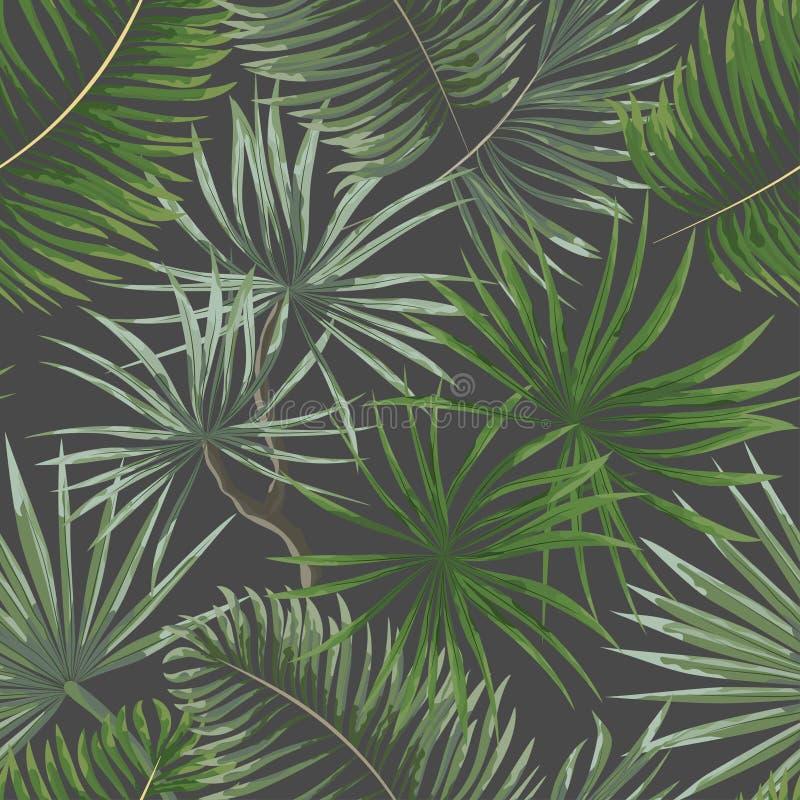 άνευ ραφής σχέδιο των βεραμάν τροπικών φύλλων στο γκρίζο backgro απεικόνιση αποθεμάτων