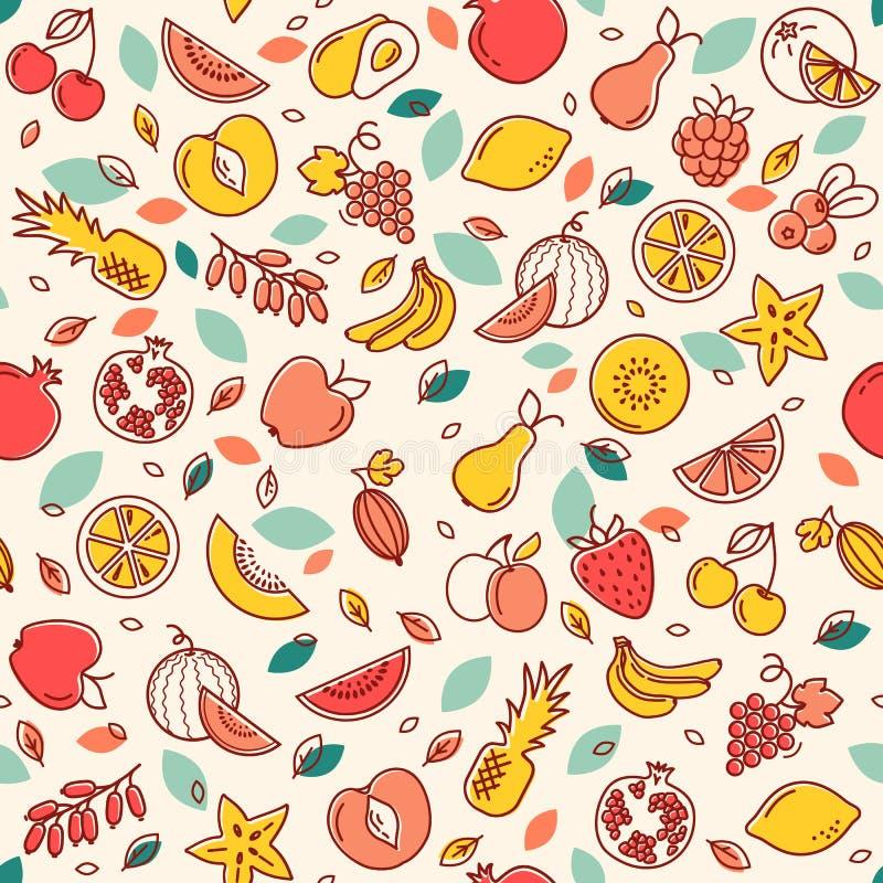 Άνευ ραφής σχέδιο των διάφορων διανυσματικών φρούτων Υπόβαθρο με τις έγχρωμες εικονογραφήσεις πολλών φρούτων διανυσματική απεικόνιση