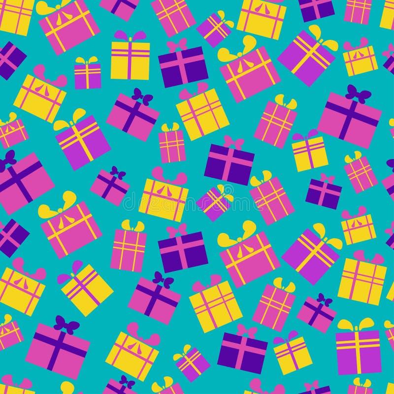 Άνευ ραφής σχέδιο των επίπεδων, φωτεινών, πολύχρωμων κιβωτίων δώρων με τις κορδέλλες και των τόξων σε ένα μπλε υπόβαθρο ελεύθερη απεικόνιση δικαιώματος