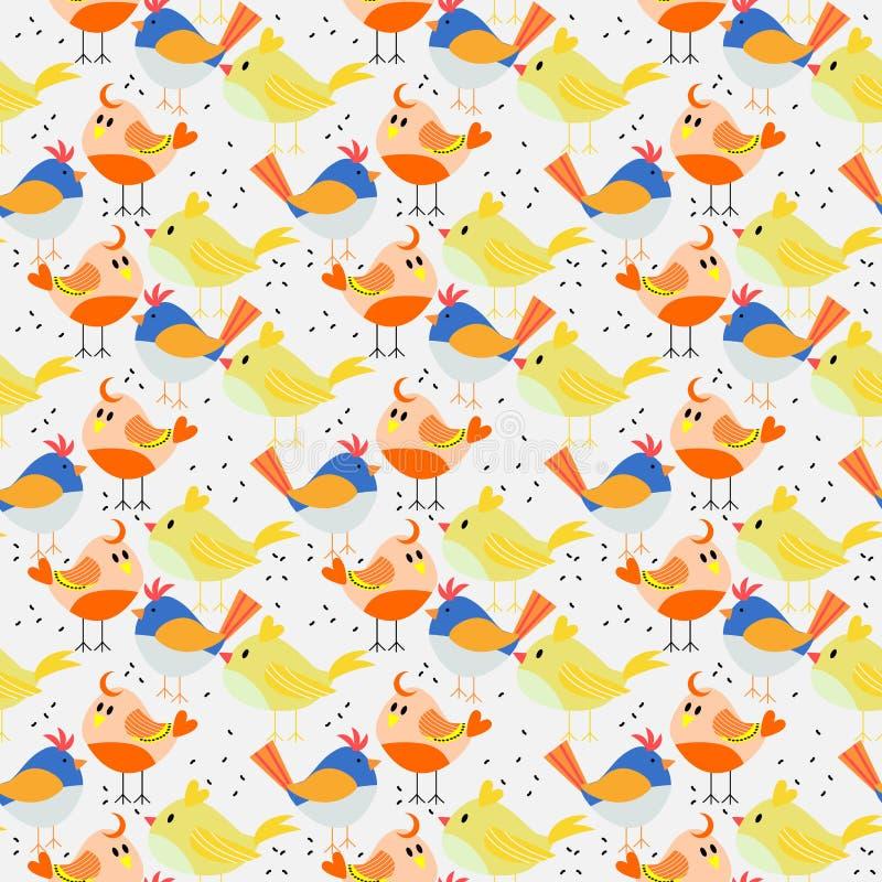 Άνευ ραφής σχέδιο των ζωηρών καλών μικροσκοπικών πουλιών απεικόνιση αποθεμάτων