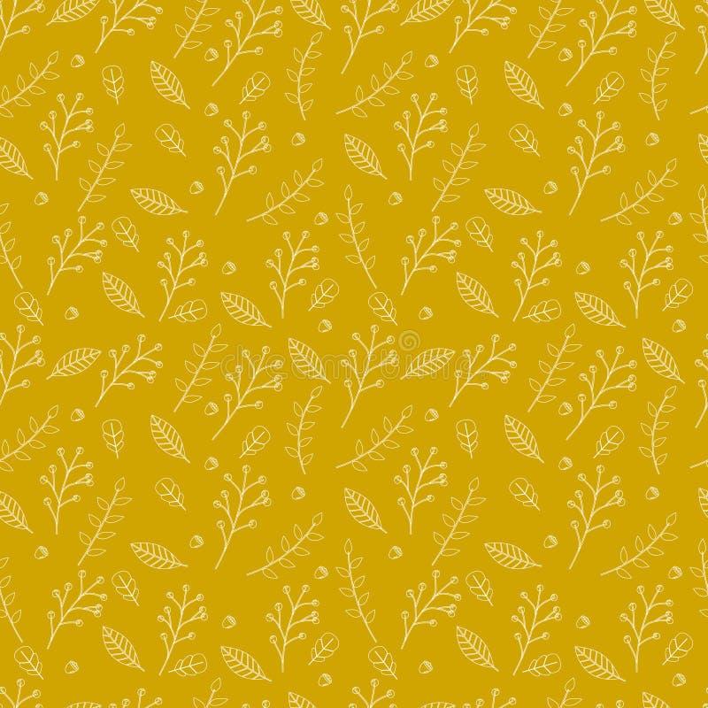 Άνευ ραφής σχέδιο των κίτρινων φύλλων φθινοπώρου στο καφετί υπόβαθρο στοκ εικόνες