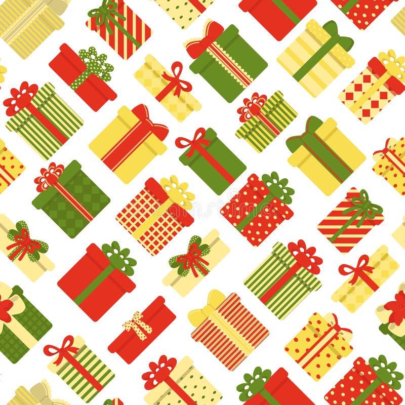 Άνευ ραφής σχέδιο των κιβωτίων δώρων σε ένα άσπρο υπόβαθρο Εορταστικός r διανυσματική απεικόνιση