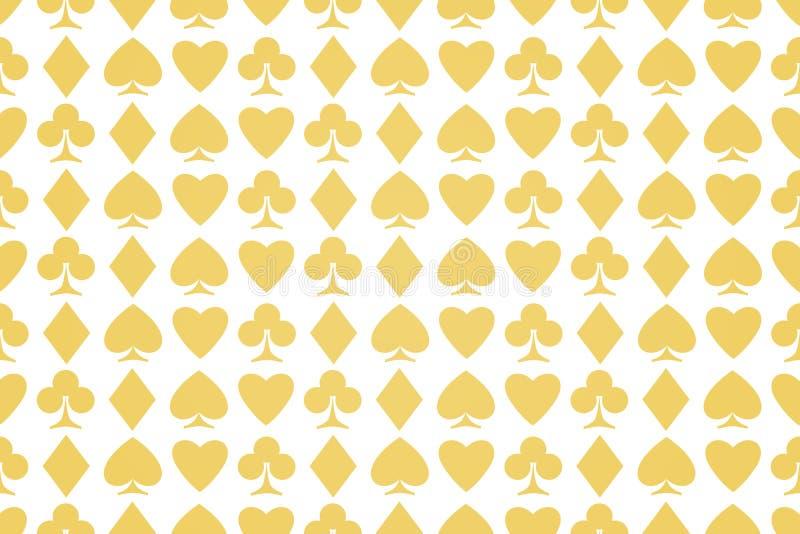 Άνευ ραφής σχέδιο των κοστουμιών καρτών παιχνιδιού στο λευκό απεικόνιση αποθεμάτων
