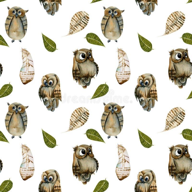 Άνευ ραφής σχέδιο των κουκουβαγιών και των φτερών watercolor διανυσματική απεικόνιση
