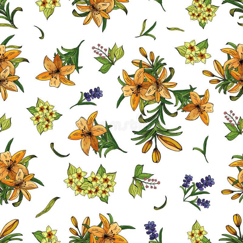 Άνευ ραφής σχέδιο των κρίνων, των λουλουδιών και των φύλλων Διεσπαρμένος ομοιόμορφα στο λευκό ελεύθερη απεικόνιση δικαιώματος