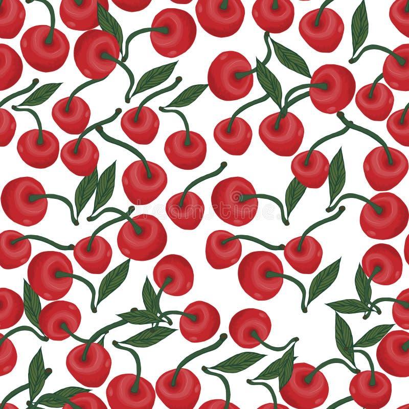Άνευ ραφής σχέδιο των κόκκινων κερασιών με τα πράσινα, φύλλο σε ένα άσπρο υπόβαθρο ελεύθερη απεικόνιση δικαιώματος