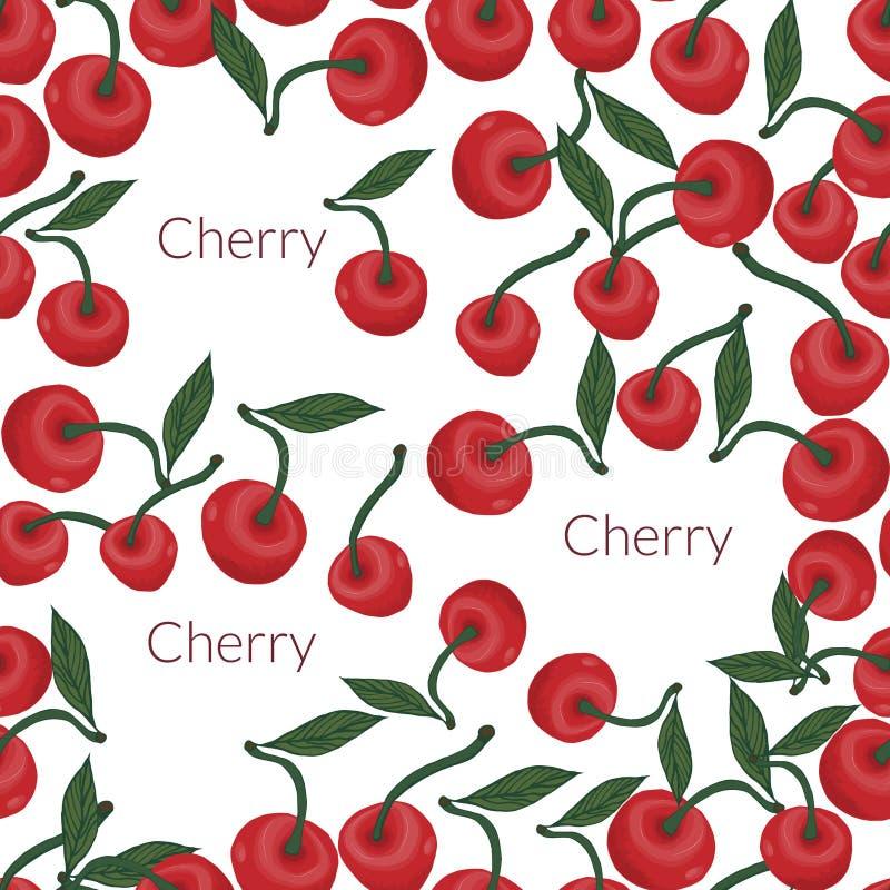 άνευ ραφής σχέδιο των κόκκινων κερασιών με τα πράσινα, φύλλο διανυσματική απεικόνιση