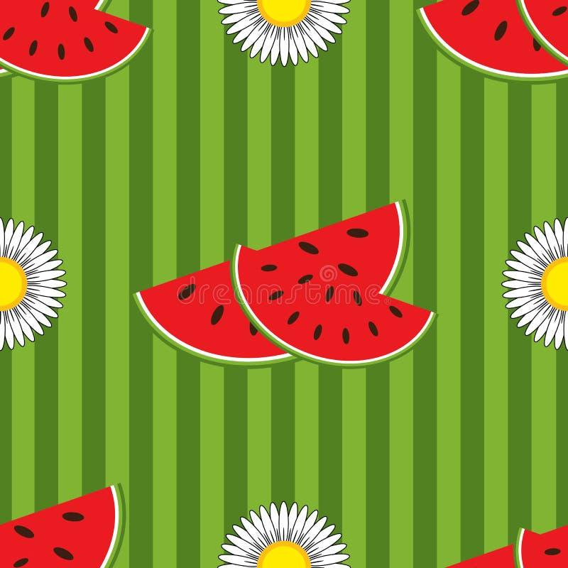 Άνευ ραφής σχέδιο των κόκκινων φετών καρπουζιών και των άσπρων λουλουδιών σε ένα χρωματισμένο ριγωτό υπόβαθρο ελεύθερη απεικόνιση δικαιώματος